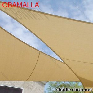Shade cloth installed in a backyard of a house